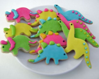 Dinosaur Sugar Cookies - Mini Bites - 3 Dozen Mini Cookies