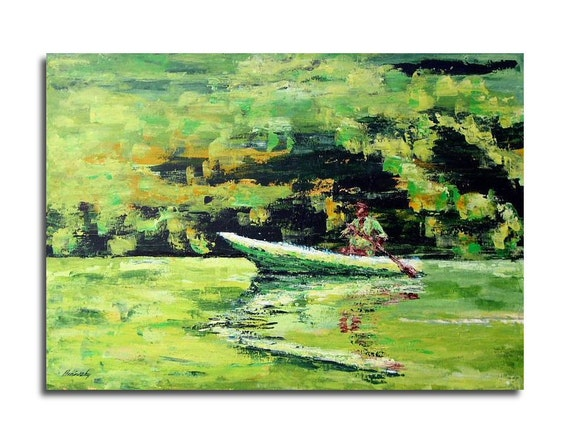 """Acrylic painting - The Boatman - Original figurative painting fishing man in a boat - light green, lime green, brown  - 19,7"""" x 27,6"""""""