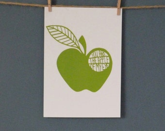 HALF PRICE Greeting Card taken from 'Apple of my Eye' paper cut by Loula Belle At Home