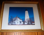 SANDY HOOK LIGHTHOUSE Gold Gild Hardwood Frame Hand Signed by Artist