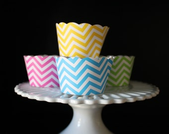 Multi Color Chevron Stripe Lime Green, Hot Pink, Yellow and Blue