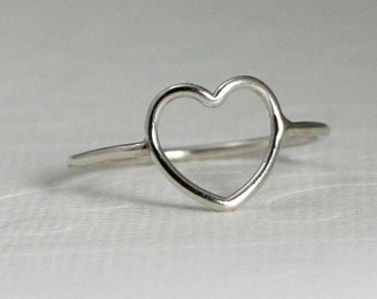 Sterling silver heart ring, open heart ring, heart ring, silver open heart ring, love, sisters, friends, novelty, statement, eco friendly