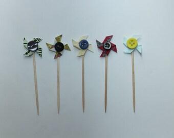 Mini Pinwheel Cake Toppers x12