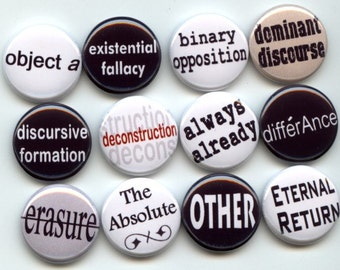 "Philosophy Sociology Social Sciences quotes concepts terms lingo 12 Pinback 1"" Buttons Badges Pins set B"