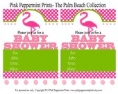 NEW INSTANT DOWNLOAD The Palm Beach Pink Flamingo Printable Party Collection Baby Shower Fill In Invitations