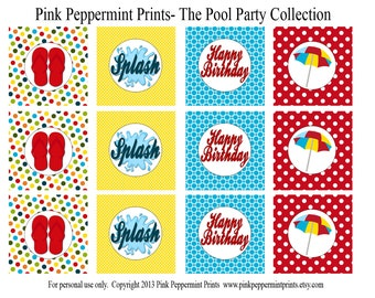 New INSTANT DOWNLOAD The Splish Splash Pool Party Printable Party Collection- Printable 2 inch party tags circles cupcake toppers