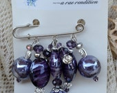 A Beaded Brooch, Passionate Purple Glass Beads created to make a new look for a Lapel Pin