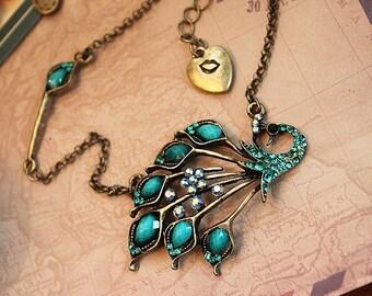 Vintage necklace, Antique bronze necklace, Peacock necklace,  green stones necklace,