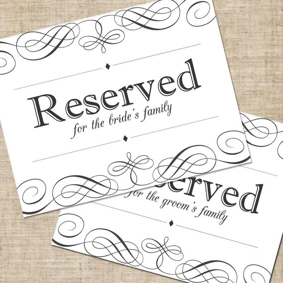 Magic image pertaining to printable reserved table sign