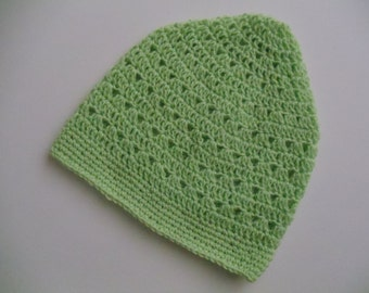 Clearance Green Crochet Beanie Lime Green Crochet Hat Light Weight Beanie (HAT103 Lt Green)