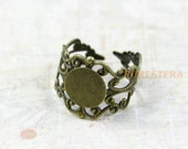 5Pcs Antique Brass Blank Ring Cabochon Base Ring Flower Ring 10mm (PND194)