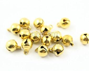 50Pcs 8mm Gold Bells Jingle Bells Charm Bead (JBEL08)