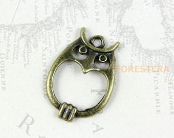20Pcs Antique Brass Owl Charm Owl Pendant 23x16mm (PND161)