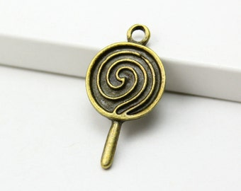 30Pcs Antique Brass lollipop Charms lollipop Pendants 23x14mm (PND269)