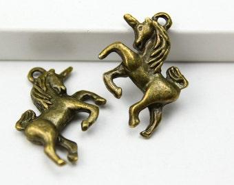 20Pcs Antique Brass unicorn Charm unicorn Pendant 24x17mm (PND335)