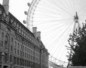 London Photography Set of 3 B&W Photo Prints - London Eye, Westminster Abbey, River Thames