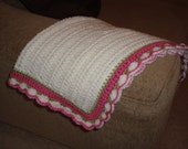 "White Baby Blanket with Pink and Green Border 20""x24"""