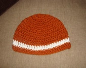 Baby Burnt Orange and White Crochet Hat / Beanie, UT, Longhorn, Univ. of Texas