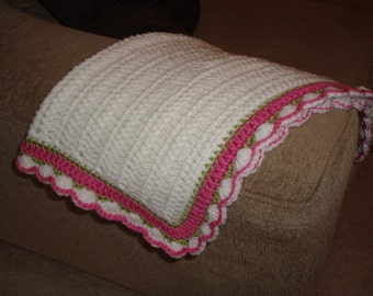 """White Baby Blanket with Pink and Green Border 20""""x24"""""""