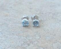 4mm genuine Aquamarine stud earrings in Sterling Silver