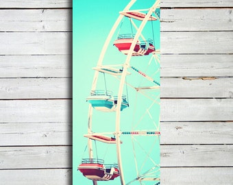 "Ferris Wheel -20x60"" canvas print - Ferris Wheel art - Ferris Wheel photography - Aqua Blue - Ferris Wheel decor - Carnival Decor"