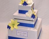 Elegant Custom Made Wedding Card Box -Silk Flowers