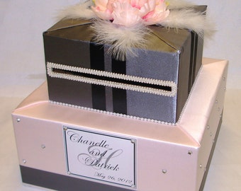 Blush Pink and Gray Card Box-Feathers-any color can be made