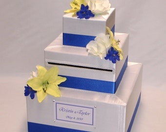 Elegant Custom Made Wedding Card Box -Silk Flowers
