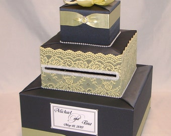 Charcoal Gray-Yellow Wedding Card Box-Lace design