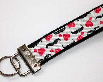 Mustache Key Fob Key Chain Wrislet Pink and Black