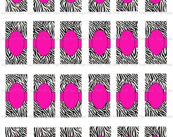 INSTANT DOWNLOAD BLANK Zebra Hot Pink Digital Rectangle Domino Size Images 8x11 sheet