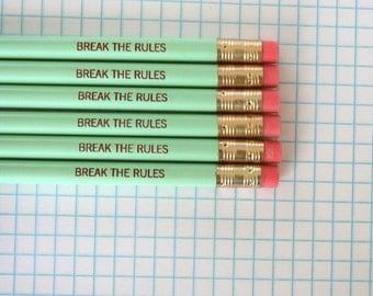 break the rules engraved pencil pack of 6 in mint green.