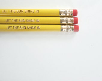 let the sun shine in pencil set of three 3 in yellow. back to school supplies