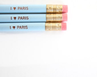 I love paris engraved pencil set 3 baby blue. heart love. love heart.
