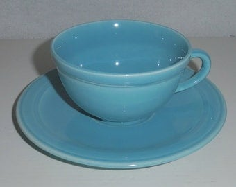 Vernon Kilns Teacup Turquoise Early California Teacup and Saucer
