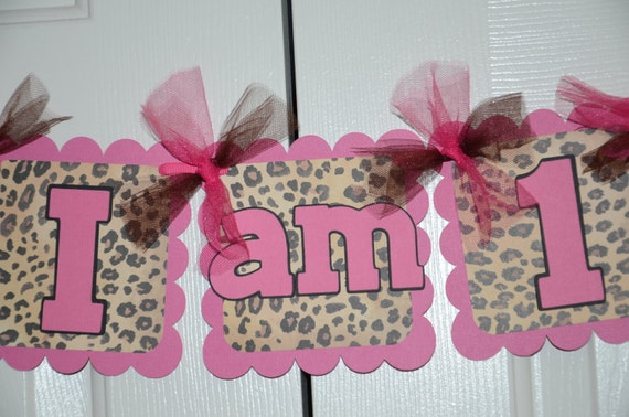 Cheetah print i am 1 name banner birthday party by for Animal print decoration party