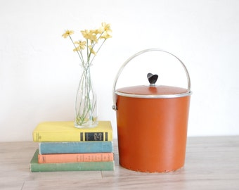 1970s Orange Naugahyde Ice Bucket With Laced Detailing