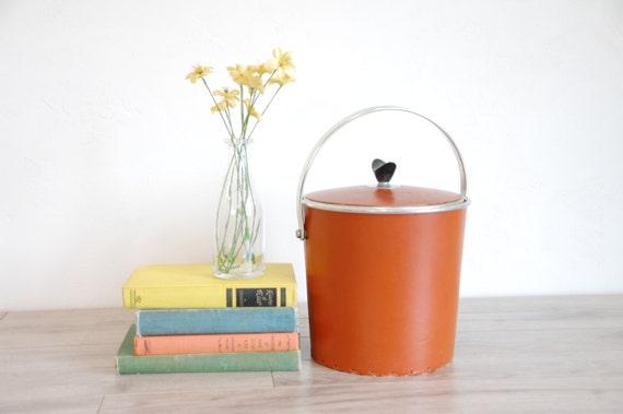 1970s Orange Naugahyde Ice Bucket With Laced Detailing