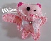 Feltie Pin, Pink Kitty Felt, Handstitched felt brooch, Pink Cat Felt Pin, Hand embroidered pin, Feltie Cat bell