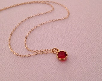 Ruby Necklace in Gold -Ruby Red Swarovski Crystal Necklace in Gold Fill-July Birthstone Necklace