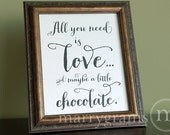 All You Need is Love... Wedding Chocolate Bar Dessert Station Table Card Sign - Candy Buffet - Reception Signage - Table Numbers SS02 - marrygrams