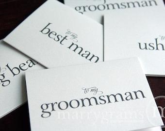 Groomsman Thank You Card, Best Man Card, Wedding Note Card Groomsmen -Perfect with a Groomsman Gift -Bridesmaids, Usher Card (Set of 4) CS08