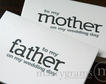 Wedding Card to Your Mother and Father -Parents of the Bride or Groom Cards - Father and Mother of the Groom Gift On My Wedding Day