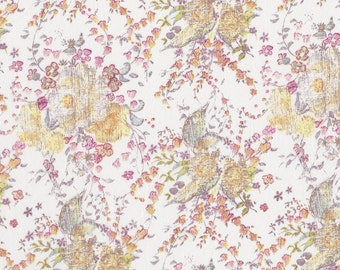 Fat eighth Keighley B, pale yellow and green sketched floral, Liberty of London pastel yellow, green and pink print
