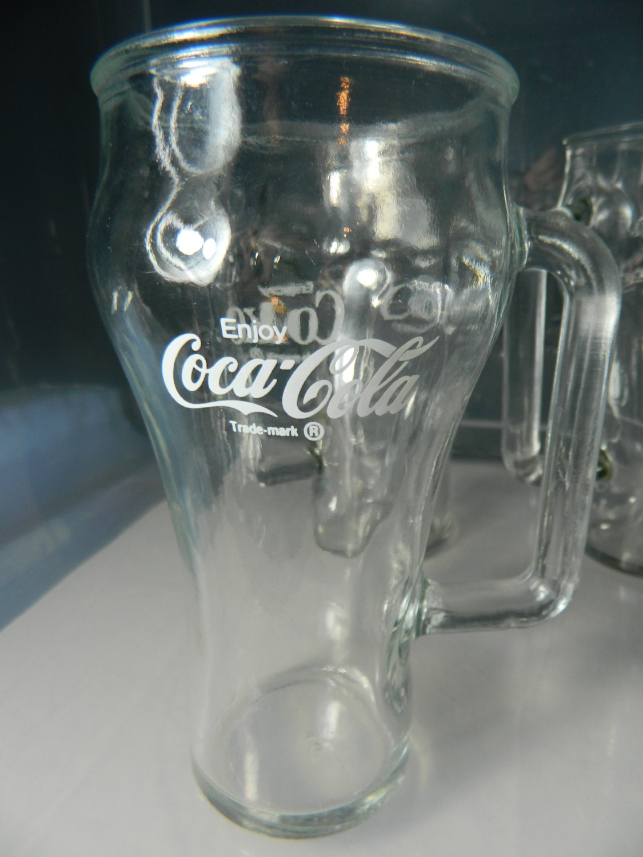 Vintage Coca Cola Coke Glasses Coke Mugs Rare Handles Clear