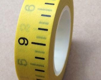 Japanese Washi Masking Tape - Yellow Inch Ruler - 11 yards