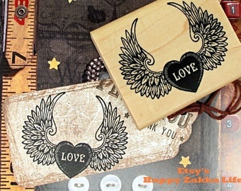 Love Wings - Wooden Rubber Stamp - 1 Pcs