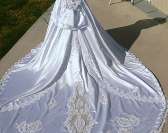 Satin white  wedding dress with  Pearls and Long Train
