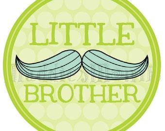 Little Brother Mustache DIY Iron on T shirt Transfer - Stache - Green
