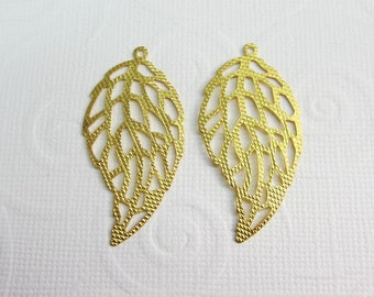 6 Pcs - Gold Plated Leaf Pendant, Leaves Pendant, Connectors, Earrings,Links.Jewelry Findings (40x20MM) ZH037E